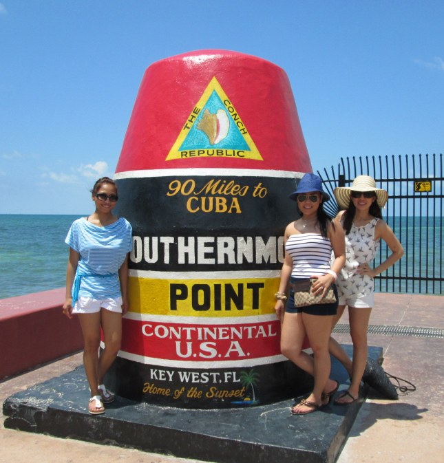An anchored concrete buoy in Key West, Florida marking one of the extreme points of the United States.